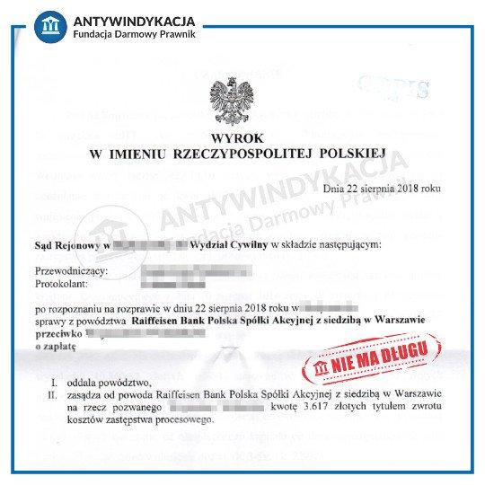 Wygrana sprawa sądowa o zapłatę długu z bankiem Raiffeisen Bank Polska. Wezwanie do sądu na rozprawę z bankiem.