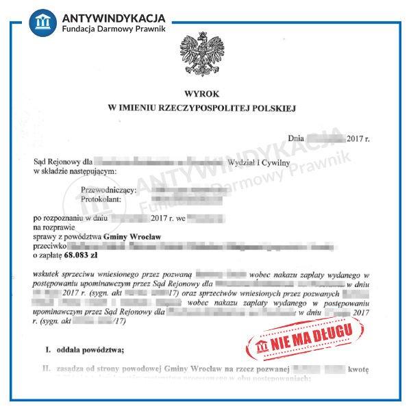 wyrok oddalenie powództwa gminy wrocław o zapłatę czynszu