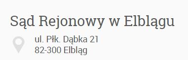 Sąd Rejonowy w Elblągu adres do korespondencji